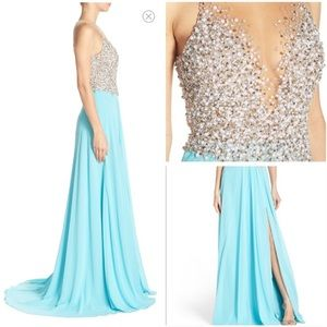 Terani Couture Dresses & Skirts - Terani Couture Beaded Gown in Aqua Blue