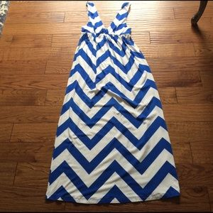 J. Crew Dresses & Skirts - Stretch cotton j.crew chevron dress maxi sz small