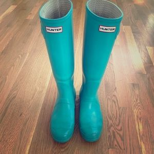 Hunter Boots Shoes - Turquoise Tall Gloss Hunter Rainboots