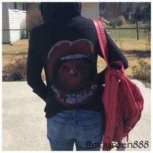 Lauren Moshi Tops - Lauren Moshi Back Graphic Hooded Jacket [black]