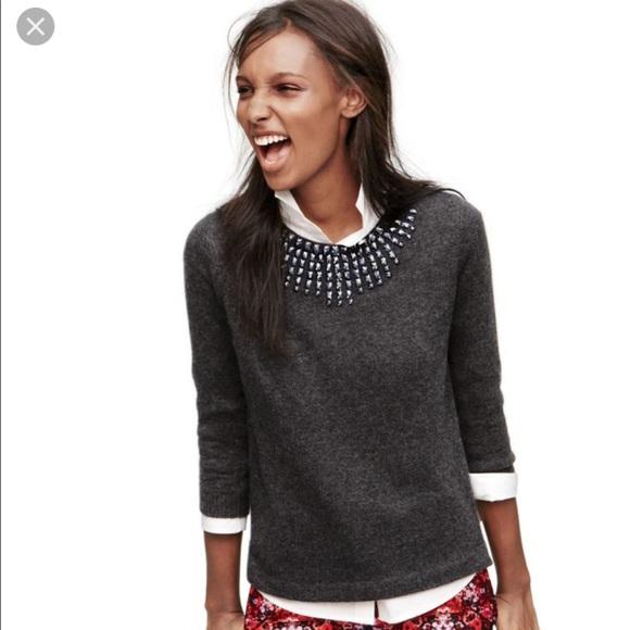 Black starburst jeweled J.crew sweater NWT