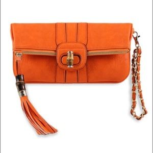 Melie Bianco Handbags - Melie Bianco Equestrian Orange Bamboo Clutch