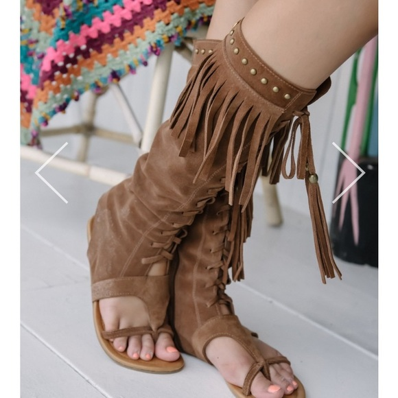 Spell and Gypsy long warrior sandals in tan Suede 3f23e31e63