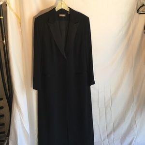 Valerie Stevens Jackets & Blazers - Long black single front button coat w/satin lapels