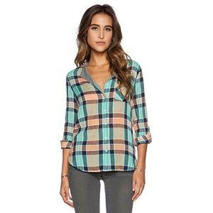 C&C California Tops - C&C California split neck crinkle plaid shirt