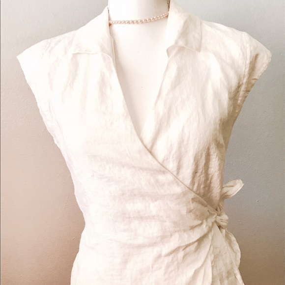 0a8560ffd7de Alexandra Bartlett Tops - Linen Cap Sleeve Wrap Blouse