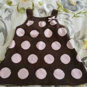 Adorable brown pink polka dot sweater dress