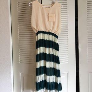 Midi length dress - cream with green/white stripes