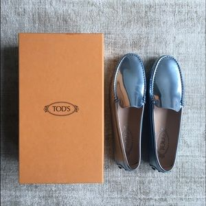 Tod's Shoes - Metallic Blue Tod's Loafers