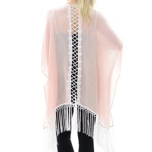 Tops - Pink Back Lace Trim Fringe Kimono Vest