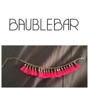 BaubleBar pink tassel bracelet