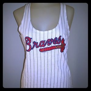 5th & Ocean Tops - Tank Top Bling Atlanta Braves MLB Baseball Fan