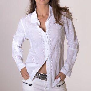 Cino Tops - Cino White Eyelet Button-Up Top