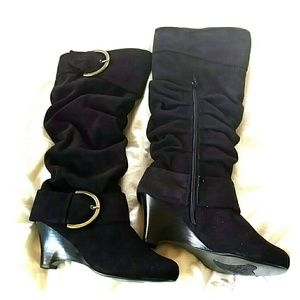 naughty monkey Shoes - Black Suede Boots w/ Heel