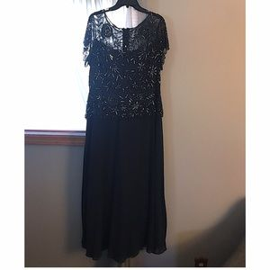 Pisarro Nights Dresses & Skirts - Pizarro Nights navy beaded mesh gown, size 16