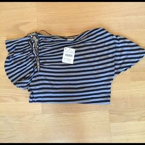 NWT pull & bear sequin off shoulder stripped shirt