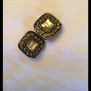 Jewelry - Vintage Clip On Green Rhinestone Earrings