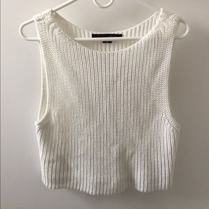Rocky Tops - Cropped, loose white sweater tank