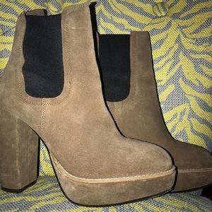 Brown Suede Chelsea Boot Platform Heels
