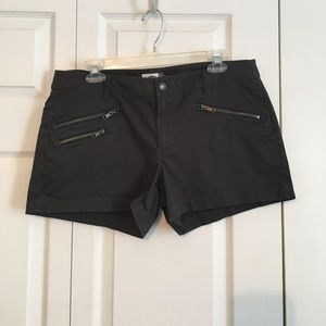 Charcoal grey shorts with zipper detailing