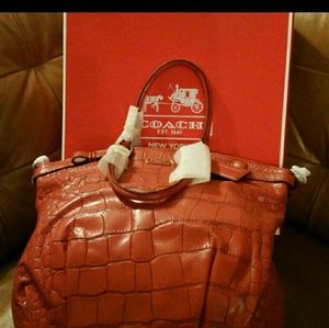 COACH CROCODILE EMBOSSED LEATHER BAG NWT