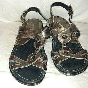 Josef Seibel Shoes - Cute low heal metallic silver leather sandal.