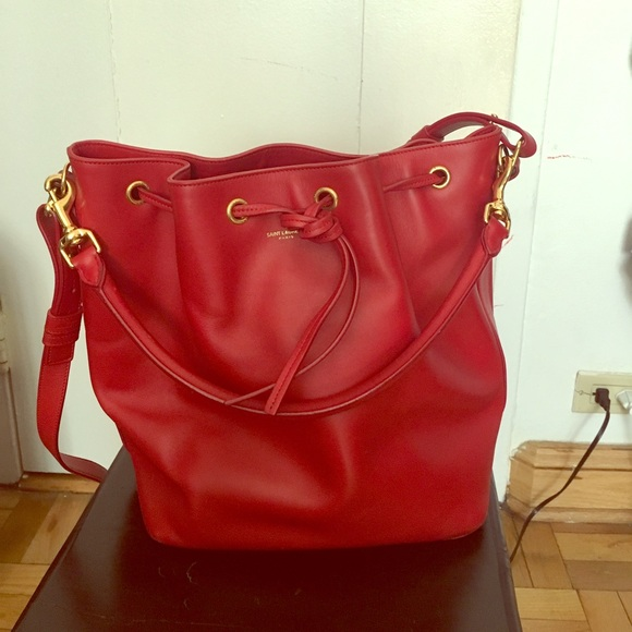 8425404cc20b YSL Bucket Bag in red smooth calfskin. M 58cecfba99086aa1d5013d5d