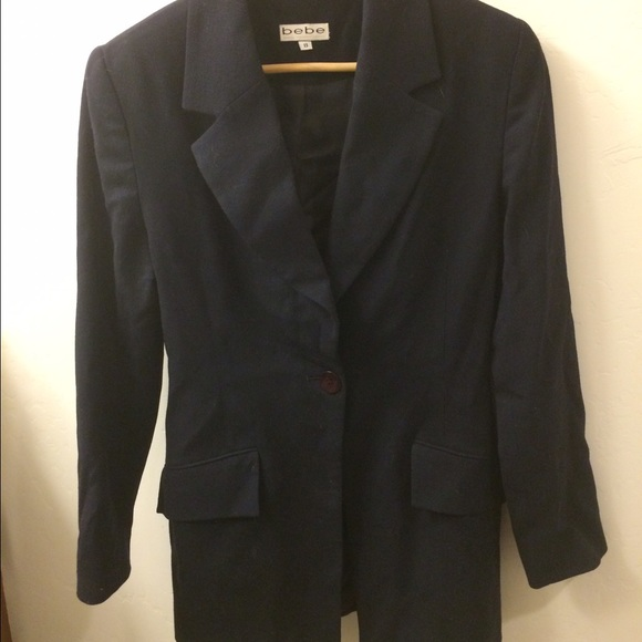 BEBE Jackets & Blazers - Bebe Black 100% Wool Suit Jacket Size 8.