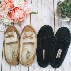 Minnetonka Shoes - Black and Tan Moccasins
