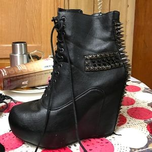 mandee Shoes - Black spiked wedges