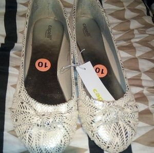 Capelli of New York Shoes - Capelli beige/ silver bow flats