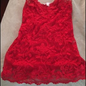 Victoria's Secret Lace Slip L Red