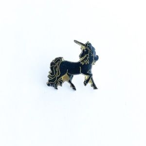 Vintage Accessories - Vintage Black Unicorn Enamel Pin