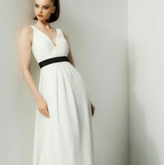 NWT Bari Jay v neck white dress with blacl sash 429791065