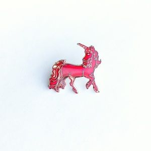 Vintage Accessories - Vintage Red Unicorn Enamel Pin
