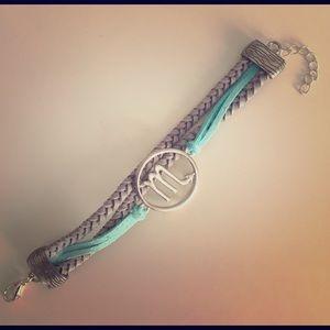 Ashley Bridget Jewelry - Scorpio bracelet, tif. blue/gray leather & silver