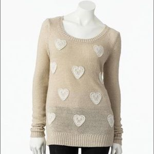 LC Lauren Conrad Lace Heart Lurex Shimmer Sweater