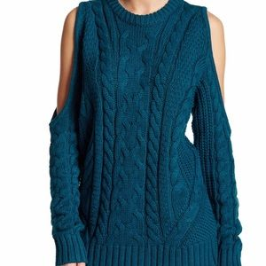 Endless Rose Sweaters - Blue cold shoulder sweater