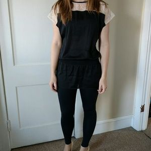 Forever 21 Tops - Ivory Lace and Black Silk Tunic