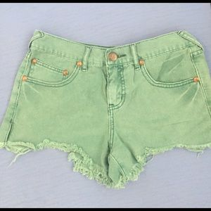 Free people jean shorts in green size 26