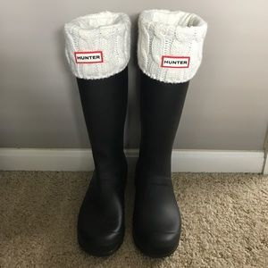 Hunter Boots Shoes - {Hunter} Tall Rain Boots with Cable Knit Inserts