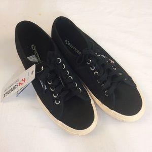 Superga Shoes - Superga black lace up sneakers NWT
