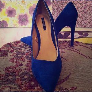Blue Suede Stiletto Pumps