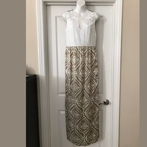 New Anthropologie Ikat White & beige Maxi dress 10