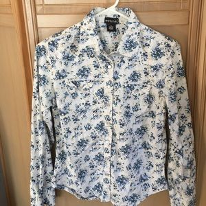 Wet Seal Snap Front Floral Shirt Size Small