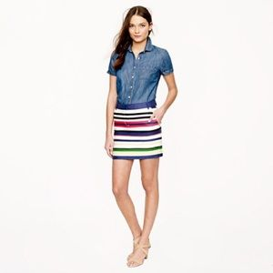 J. Crew multicolored striped skirt with pockets