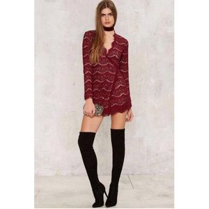 NEW Nasty Gal Nude Illusion Red Lace Dress