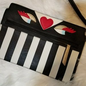 Betsey Johnson Handbags - NWOT Betsey Johnson Eyes Striped Clutch Purse
