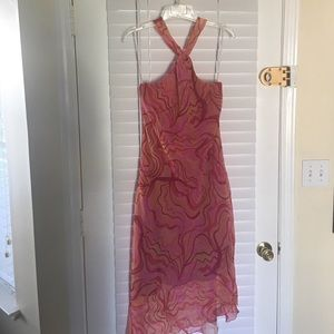 Halter dress with lining; multi color pinks