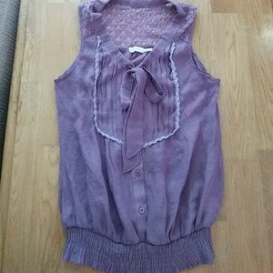 Blue Bird Tops - Bluebird boutique mauve lace tank with bow